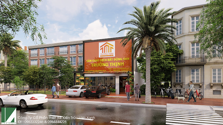 VĂN PHÒNG MẶT BẤT ĐỘNG SẢN MẶT TIỀN 7M - 2 TẦNG bởi Kiến trúc Việt Xanh