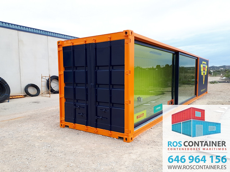 Industrial style office buildings by Ros container Industrial Iron/Steel