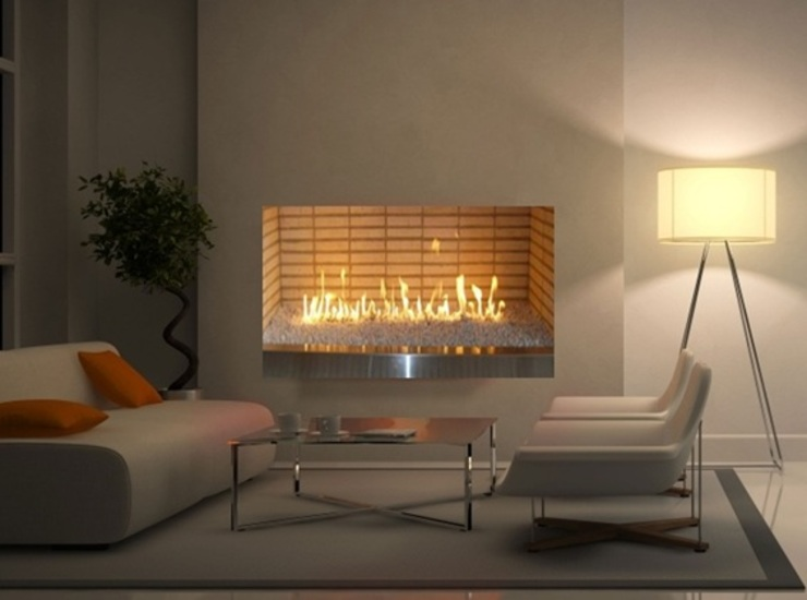 Chimenea a Gas Ventilada de Grupo Cinco Chimeneas Moderno Ladrillos