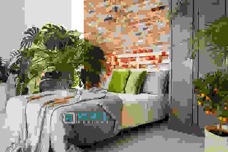 Living room in apartment 3 BHK Modern style bedroom by Rebel Designs Modern