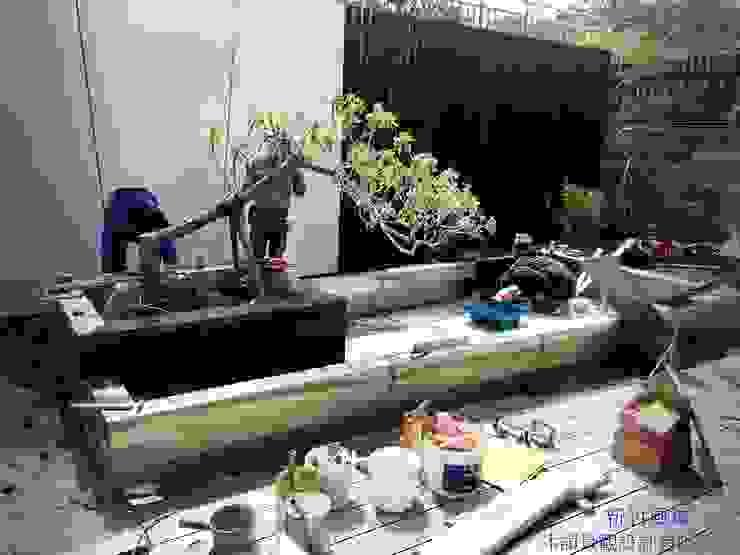 新竹風城庭園景觀  水池施工中: 鄉村  by 沐頡景觀設計公司, 田園風