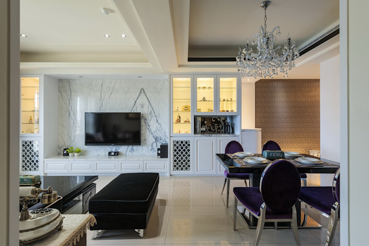 客廳展示櫃 根據 鼎士達室內裝修企劃 古典風 大理石