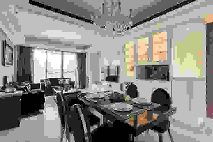 餐廳+客廳 根據 鼎士達室內裝修企劃 古典風 大理石