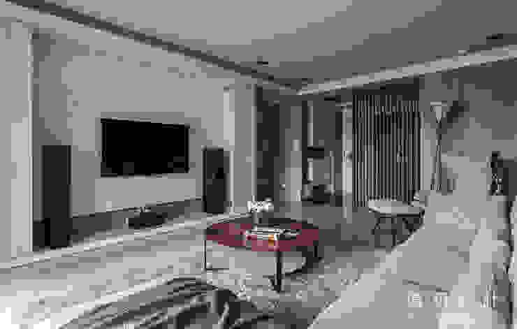 大理石紋的電視牆 现代客厅設計點子、靈感 & 圖片 根據 漢玥室內設計 現代風