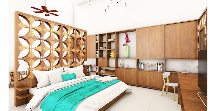 Eclectic style bedroom by Escaleno Taller de Diseño Eclectic Wood Wood effect