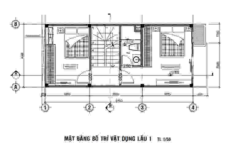 Mặt tiền nhà 1 trệt lửng 2 lầu sân thượng bởi Công ty Thiết Kế Xây Dựng Song Phát Hiện đại