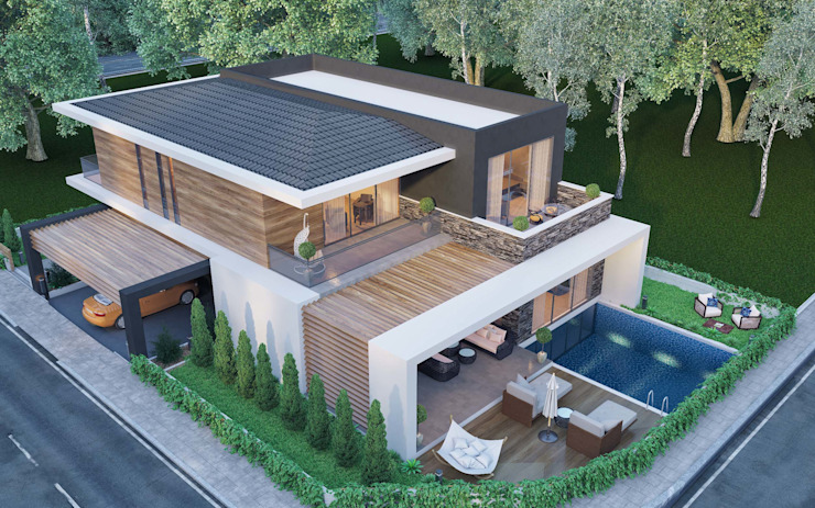 Villa çatı ANTE MİMARLIK Modern