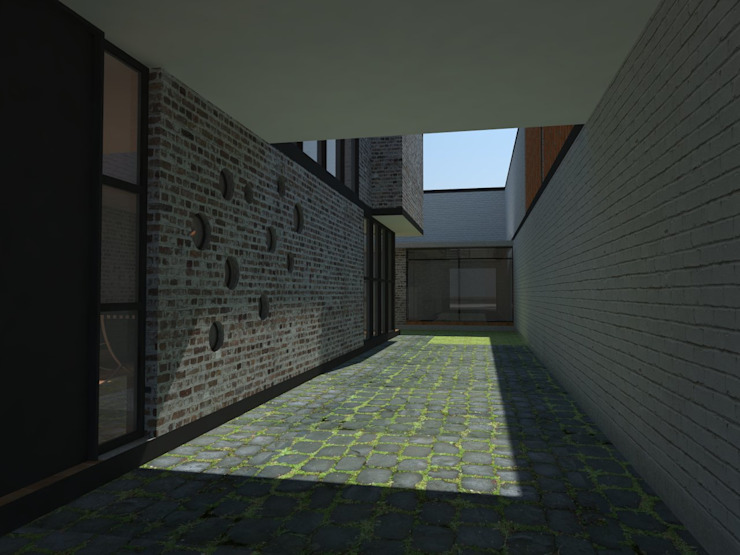 Perspectiva desde la cochera hacia el jardín.:  de estilo  por Creer y Crear. Arquitectura/Diseño/Construcción,