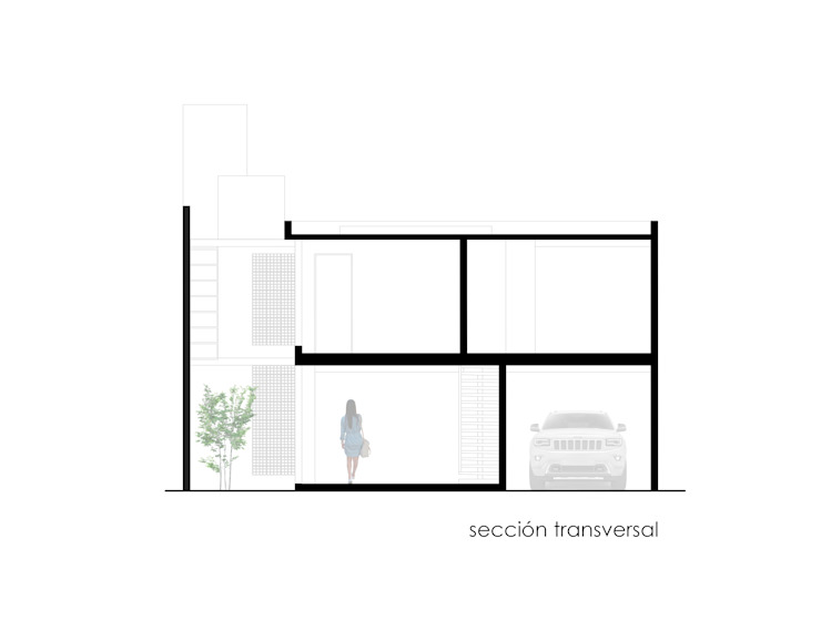 Corte transversal.:  de estilo  por Creer y Crear. Arquitectura/Diseño/Construcción,