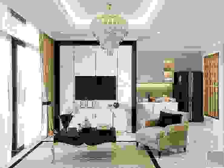 Phong cách Tân Cổ Điển trong thiết kế nội thất căn hộ Vinhomes Phòng khách phong cách kinh điển bởi ICON INTERIOR Kinh điển