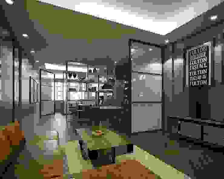 Living Room Desain Konstruksi Arsitektur Ruang Keluarga Modern