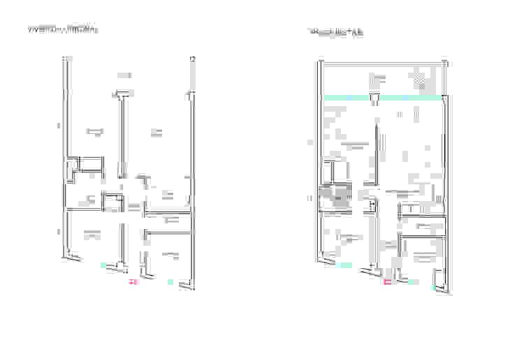 Distribución original y propuesta de Loft 26 Moderno