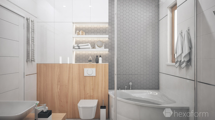 Baños de estilo moderno de hexaform Moderno