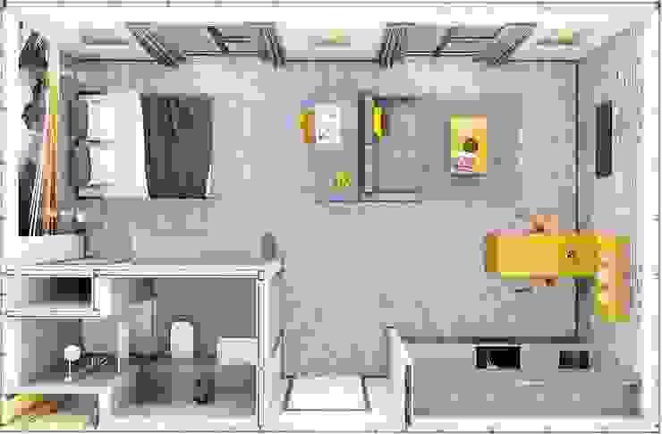 Plan view of studio Apartment CRISP3D Cuartos de estilo moderno Ladrillos Amarillo