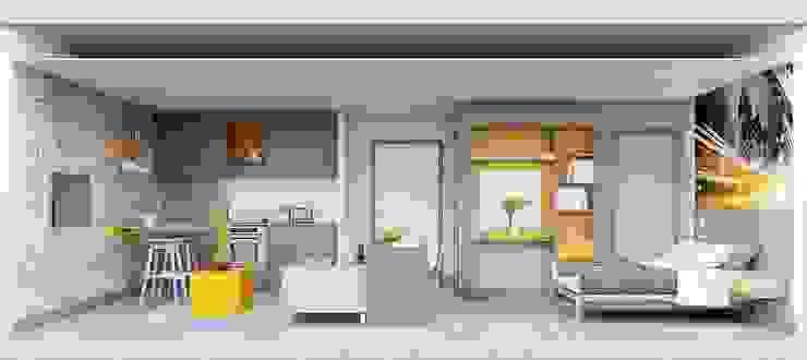 Section View of studio apartment CRISP3D 臥室 磚塊 Yellow