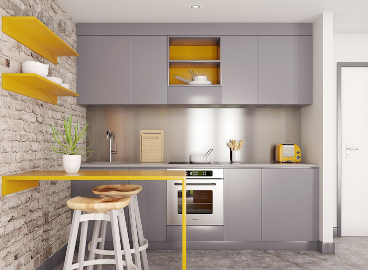 Kitchen View of Studio Apartment CRISP3D Cuartos de estilo moderno Ladrillos Amarillo