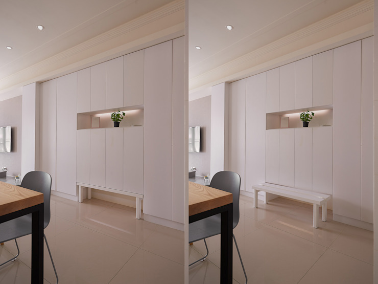 Q:設計兼具實用、收納,不浪費空間。 現代風玄關、走廊與階梯 根據 趙玲室內設計 現代風