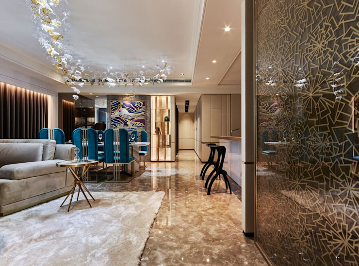 亞灣之丘 现代客厅設計點子、靈感 & 圖片 根據 雅群空間設計 現代風