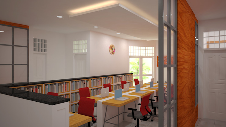 Ruang Peneliti Junior Ruang Studi/Kantor Modern Oleh Vaastu Arsitektur Studio Modern