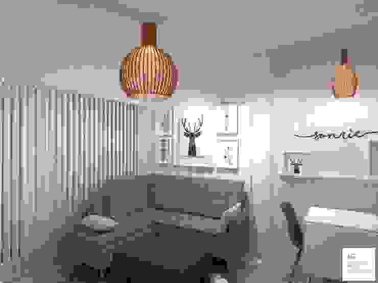 Diseño de Monoambiente en Buenos Aires : Livings de estilo  por Arquimundo 3g - Diseño de Interiores - Ciudad de Buenos Aires,Escandinavo