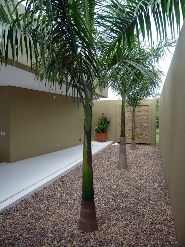 NOAH Proyectos SAS Tropical style corridor, hallway & stairs Concrete Beige