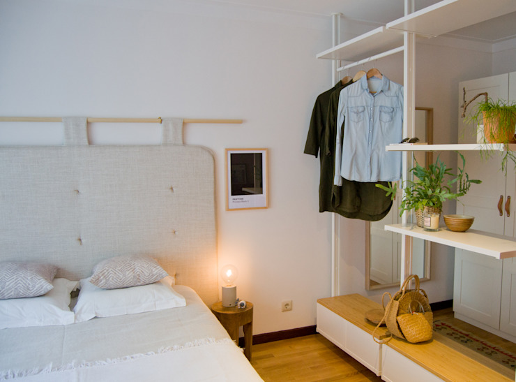 Habitaciones de estilo escandinavo de Tangerinas e Pêssegos - Design de Interiores & Decoração no Porto Escandinavo Bambú Verde