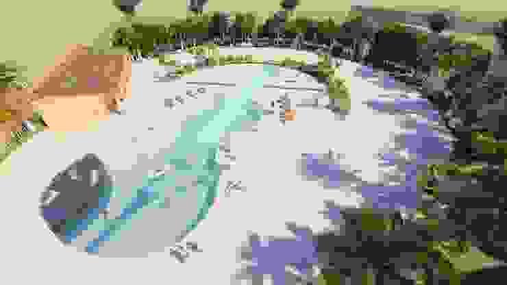 PISCINA EN FORMA DE VIOLIN:  de estilo tropical por BSG Ingeniería Arquitectura y Construcción, Tropical