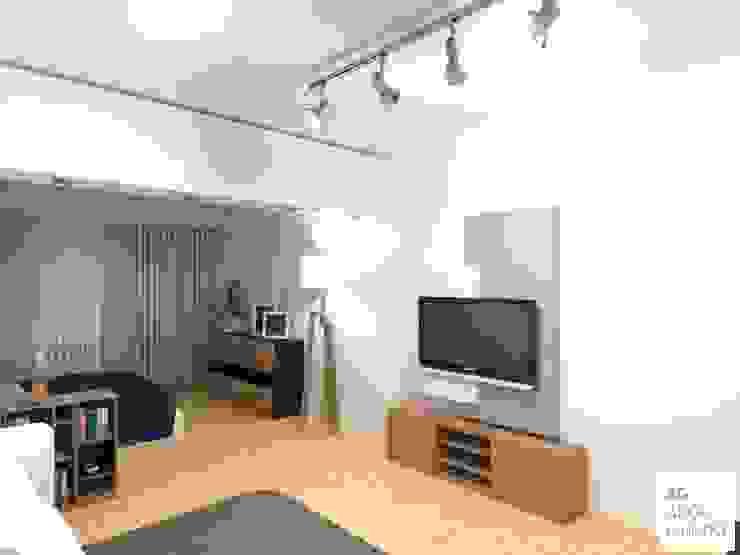 Monoambiente - Palermo : Livings de estilo  por Arquimundo 3g - Diseño de Interiores - Ciudad de Buenos Aires