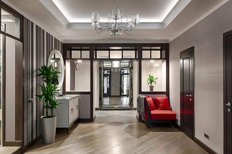 Реализованный проект интерьеров квартиры 159 кв. метров на Суворовском проспекте Коридор, прихожая и лестница в эклектичном стиле от интерьеры от частного дизайнера Эклектичный