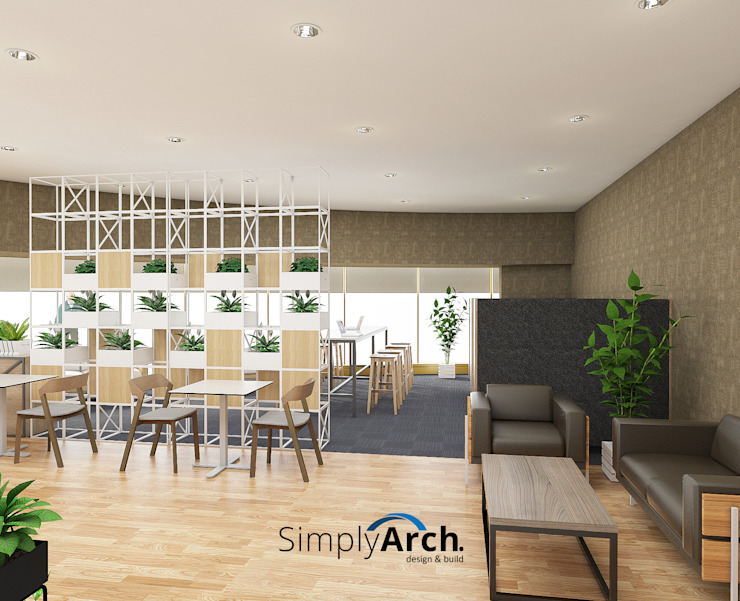 Combination of Eating area and working space Modern office buildings by Simply Arch. Modern