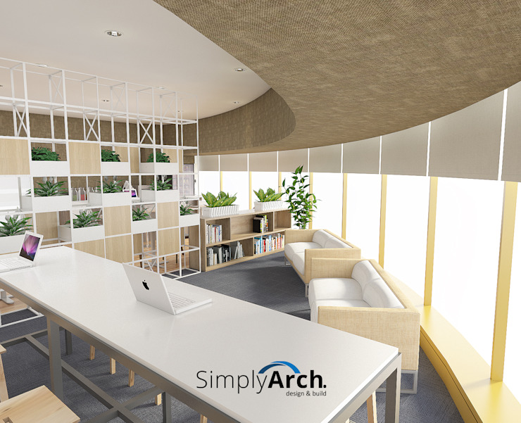 Mini Library and Working Zone Bangunan Kantor Modern Oleh Simply Arch. Modern