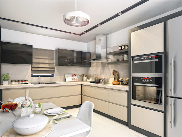 Mutfak tasarım ANTE MİMARLIK Mutfak üniteleri Bej