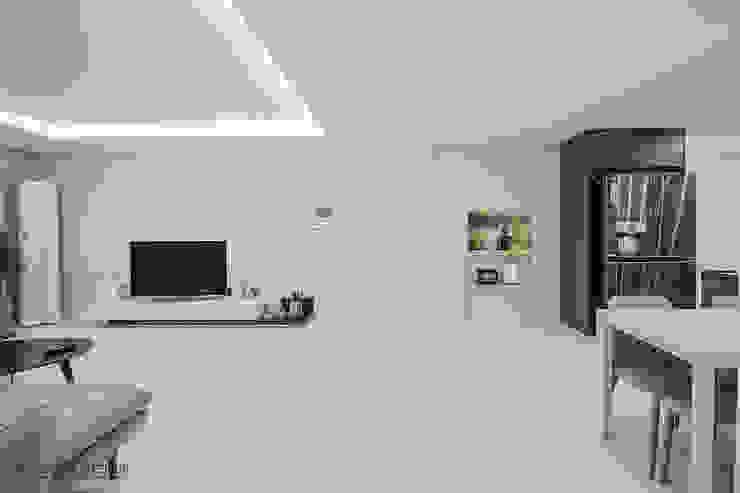 동탄인테리어 동탄역 시범 한화꿈에그린 아파트 신혼집 인테리어 by.n디자인인테리어 모던스타일 거실 by N디자인 인테리어 모던