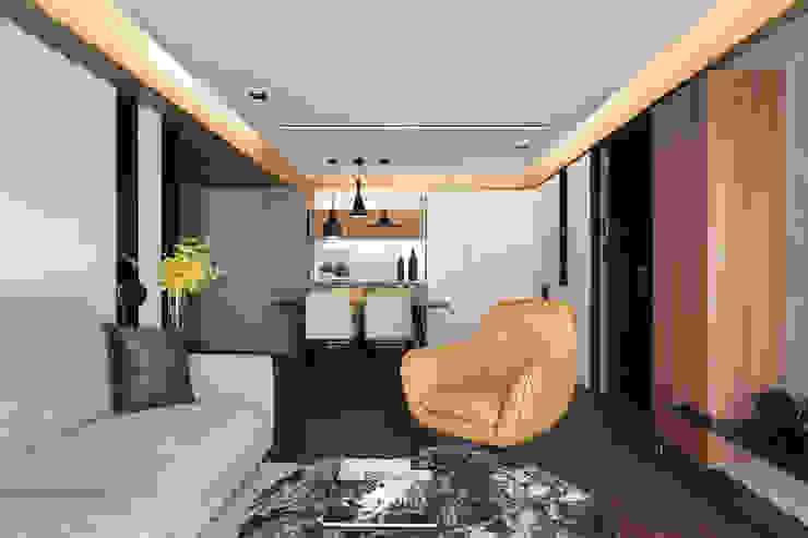 L宅_線。域 现代客厅設計點子、靈感 & 圖片 根據 沐禾設計事務所 現代風