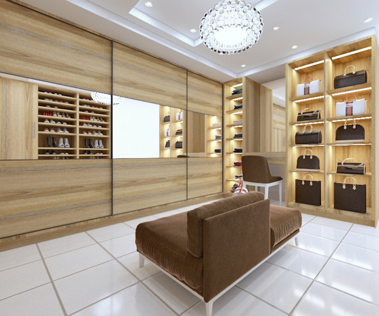 Walk in closet view 1:   by Linken Designs ,
