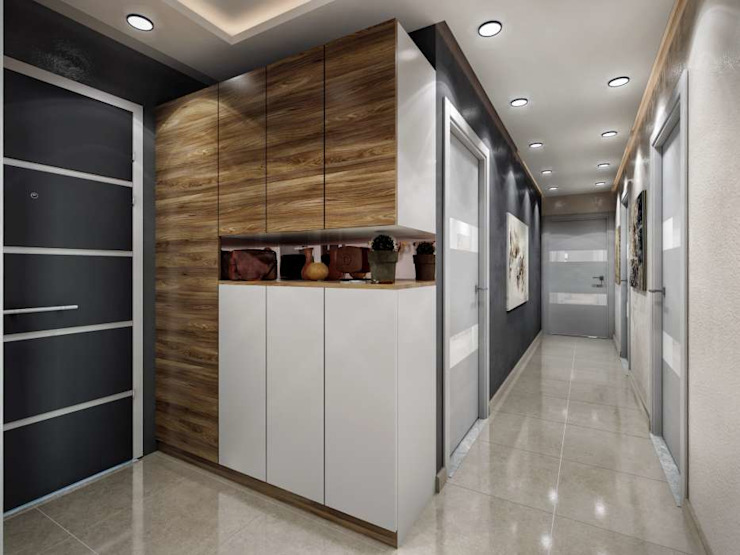 ANTE MİMARLIK Modern Corridor, Hallway and Staircase