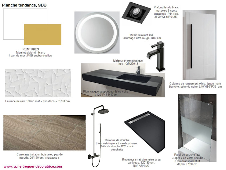 Planches tendances (projets divers) Salle de bain minimaliste par Lucile Tréguer, décoratrice d'intérieur Minimaliste