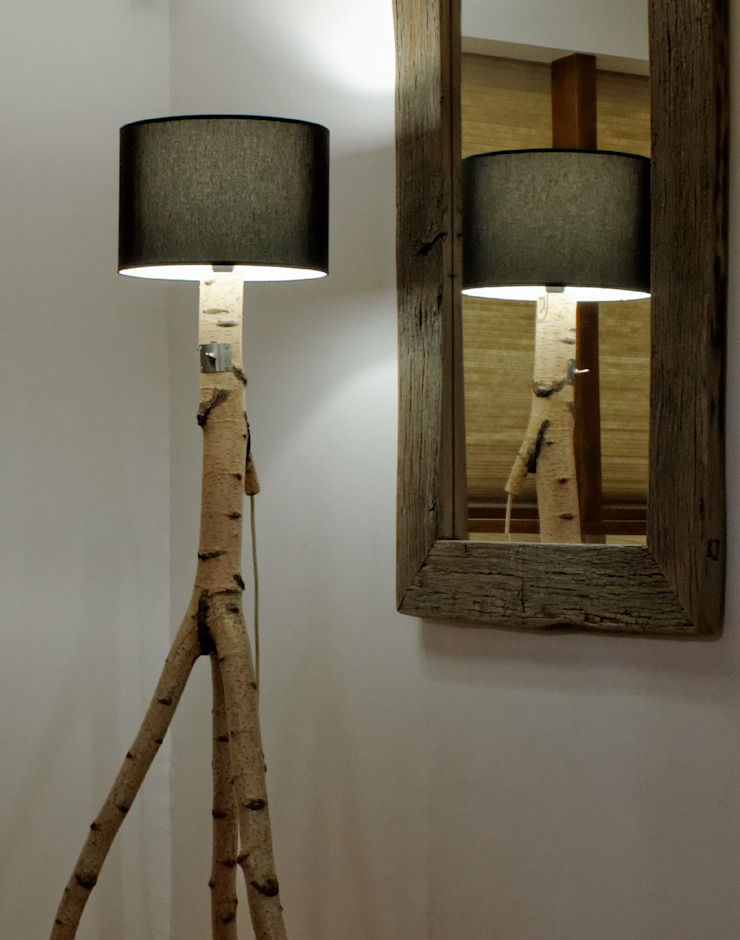 Floor lamp made of birch branches by Meble Autorskie Jurkowski Iндустріальний Дерево Дерев'яні