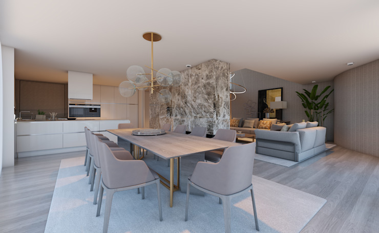 CASA MARQUES INTERIORES Dining roomLighting Wood