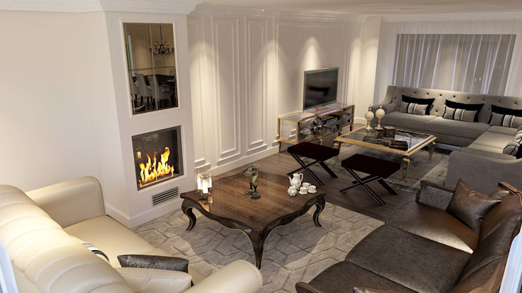 Şömine konumlama Klasik Oturma Odası ANTE MİMARLIK Klasik