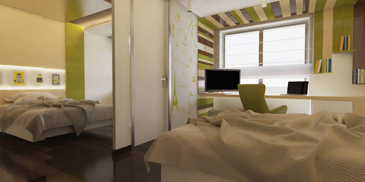 Yatak odası ANTE MİMARLIK Erkek çocuk yatak odası Yeşil
