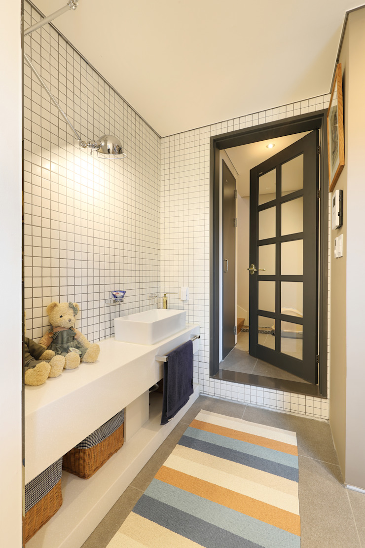 건식세면대 모던스타일 욕실 by 주택설계전문 디자인그룹 홈스타일토토 모던 타일