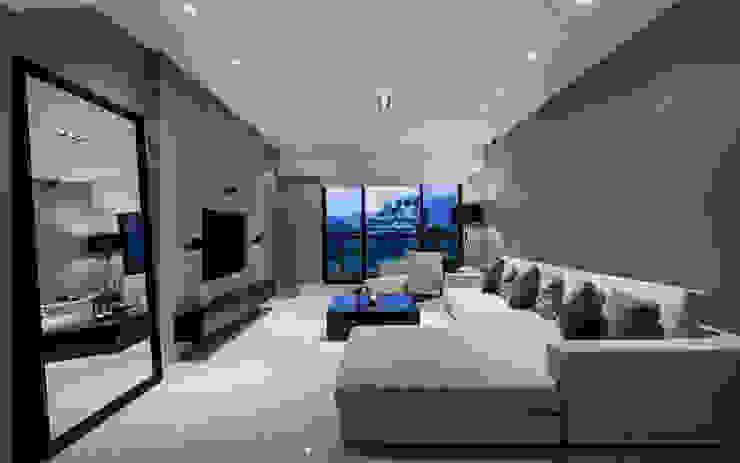 皇苑建設-人文首璽 现代客厅設計點子、靈感 & 圖片 根據 雅群空間設計 現代風