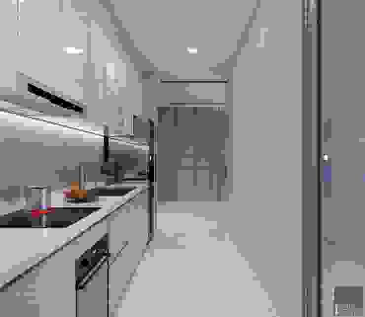 Thiết kế nội thất chung cư 2 phòng ngủ hiện đại Nhà bếp phong cách hiện đại bởi ICON INTERIOR Hiện đại