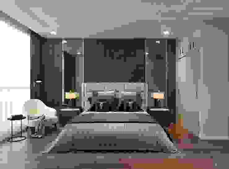 Thiết kế nội thất chung cư 2 phòng ngủ hiện đại Phòng ngủ phong cách hiện đại bởi ICON INTERIOR Hiện đại