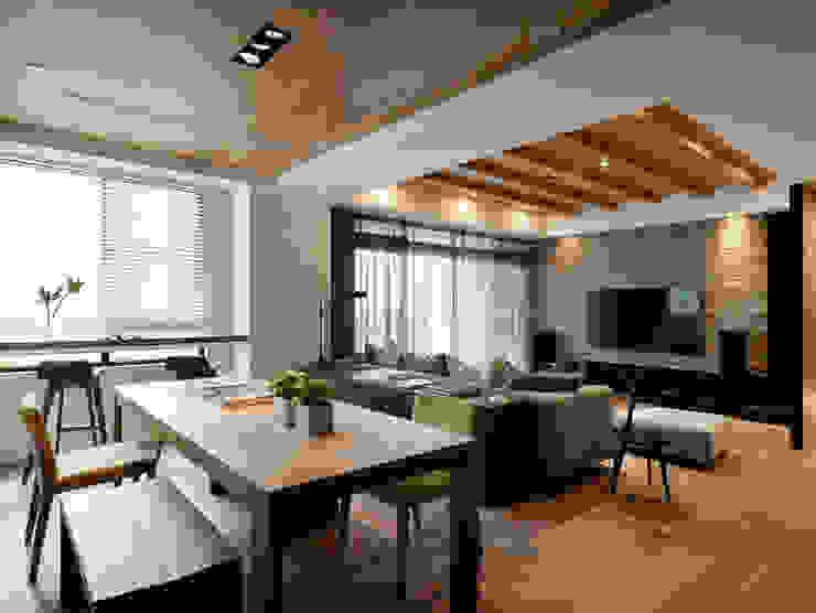 天花的表現空間 Fertility Design 豐聚空間設計 Modern Living Room Solid Wood Wood effect