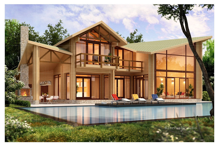 Exterior Residential 3D Rendering by ThePro3DStudio Modern