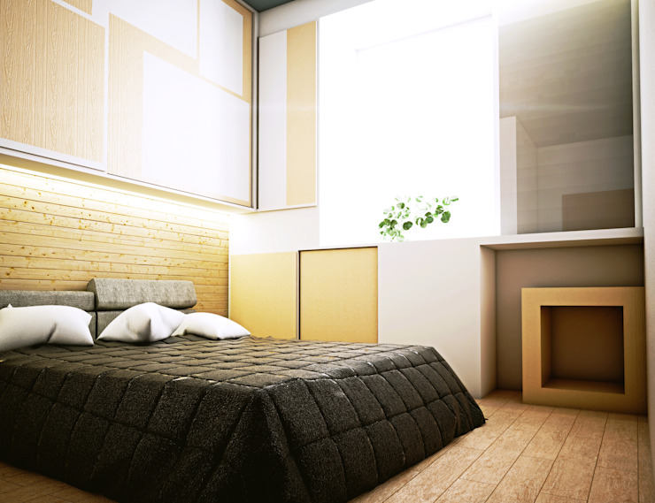 Interior Kamar Tidur Oleh r.studio Skandinavia Kayu Lapis