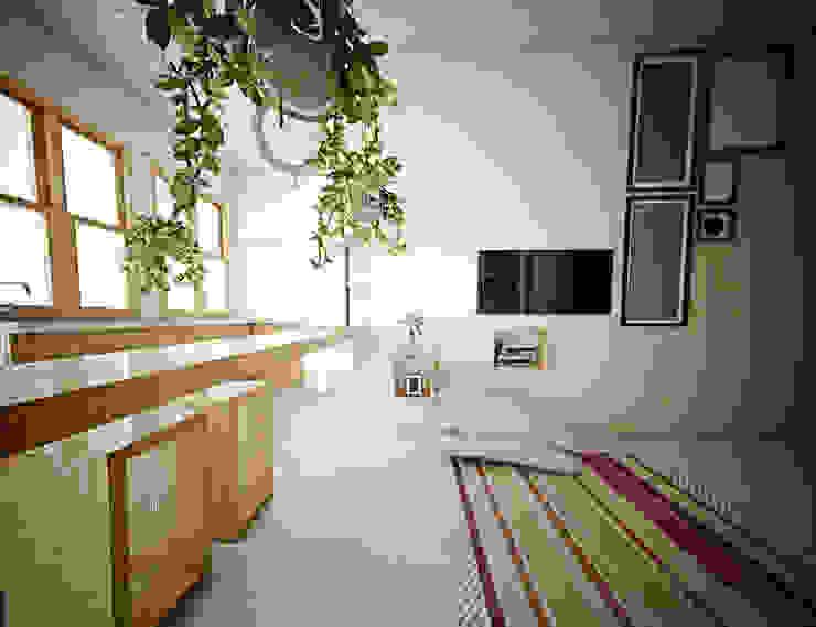 Interior Ruang Keluarga Dapur Gaya Skandinavia Oleh r.studio Skandinavia Kayu Lapis