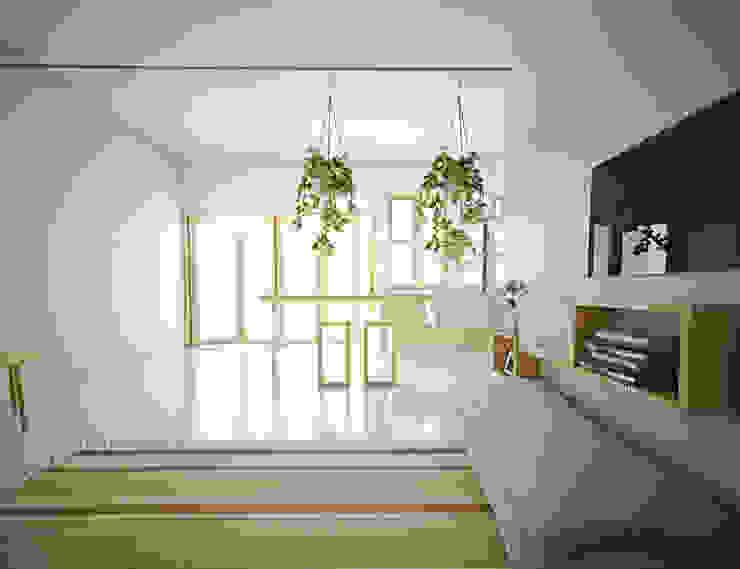 Scandinavian style living room by r.studio Scandinavian Plywood